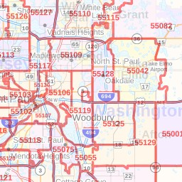 minneapolis minnesota zip code map Minnesota Zip Codes 36 X 48 Laminated Wall Map Minneapolis minneapolis minnesota zip code map